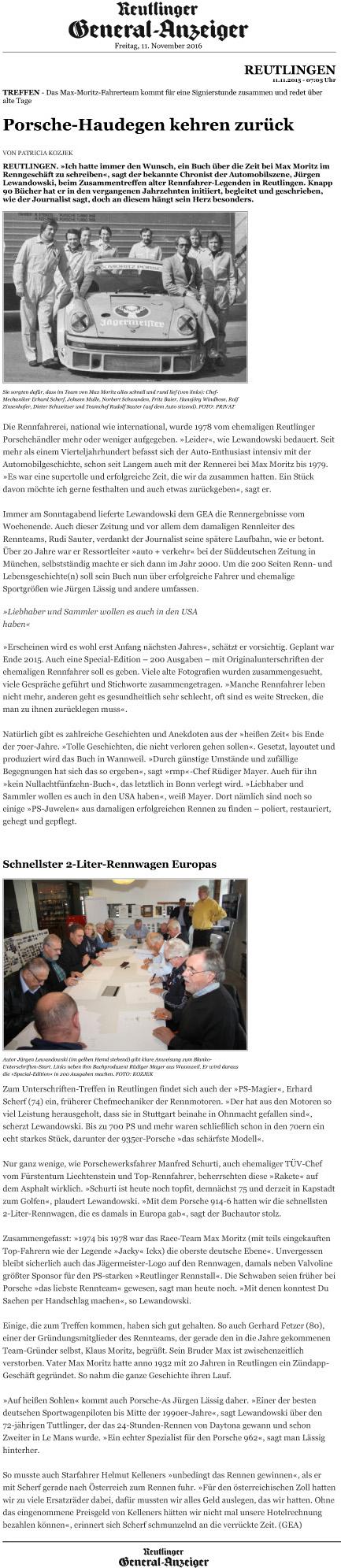 Porsche-Haudegen kehren zurück - Reutlinger General-Anzeiger -